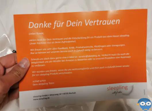 Die Dankeskarte ist eine kleine Aufmerksamkeit von Sleepling. Foto: © Matratzencheck24